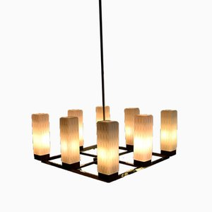 Mid-Century Modern Brass, Teak and Glass Ceiling Lamp from Kaiser Idell / Kaiser Leuchten