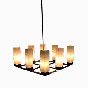 Mid-Century Modern Deckenlampe aus Messing, Teak & Glas von Kaiser Idell / Kaiser Leuchten