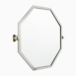 Achteckiger Spiegel aus Verchromtem Metall, 1930er