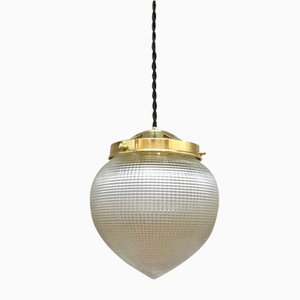 Vintage Ceiling Lamp with Streaked Glass from Holophane