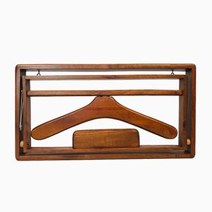 Danish Foldable Wooden Wall Valet or Coat Rack, 1960s