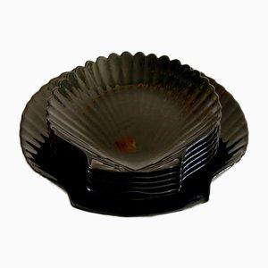 Vintage Capesante Muschel Teller aus Keramik, 1980er, 7er Set