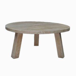 Tavolino da caffè brutalista in legno di quercia massiccio, anni '50