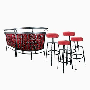 Large Cellar Bar with 4 Stools in Wrought Iron and Ceramic, 1960s