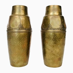 German Art Nouveau Wrought & Hammered Brass Vases from WMF, 1920s, Set of 2