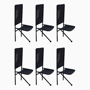Vintage Tripod Black Leather and Black Metal Side Chairs, Set of 6