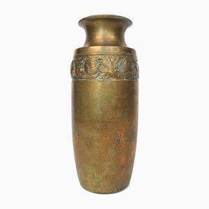 Deutsche Art Nouveau Vase aus gehämmertem Messing von WMF, 1920er