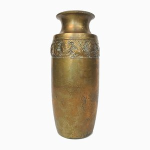 German Art Nouveau Wrought & Hammered Brass Vase from WMF, 1920s