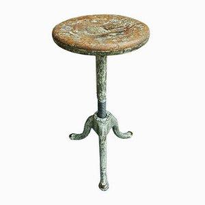 Antique Cast Iron Swivel Stool In Oak
