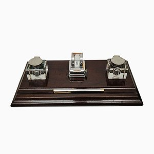 Art Deco Desk Set with Pop Up Calendar, Glass and Chrome Inkwells & Mahogany Pen Holder