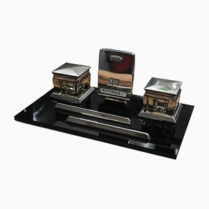 Art Deco Glass and Black Lacquer Chrome Pop Up Calendar, Inkwells and Pen Holder