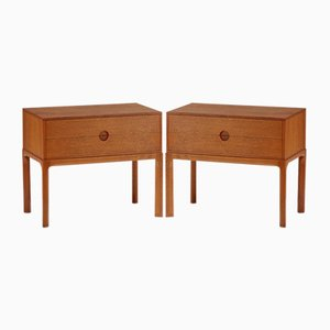 Oak Nightstands by Kai Kristiansen for Aksel Kjersgaard, 1960s, Set of 2