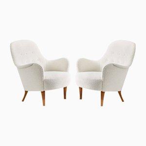 Schwedische Boucle Lounge Stühle von Carl Malmsten, 1950er, 2er Set