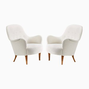Swedish Boucle Lounge Chairs from Carl Malmsten, 1950s, Set of 2