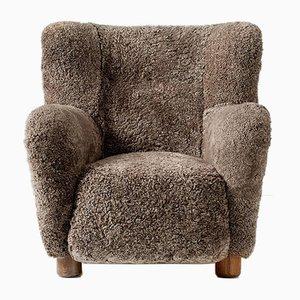 Danish Sheepskin Lounge Chair, 1940s