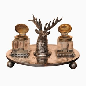Silver-Plated Stag's Head Ink Stand Desk Set with Pop Up Inkwells from by W.W. Harrison & Co.