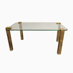 Glass and Brass Coffee Table, 1980s