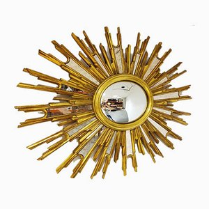 Mid-Century Golden Sunburst Mirror