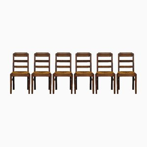 Oak, Wood and Straw Side Chairs, 1950s, Set of 6