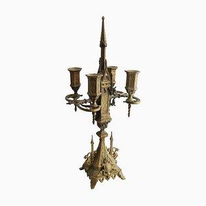 19th Century Gothic Bronze Candlestick Bronze