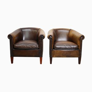 Vintage Dutch Brown Leather Club Chairs, Set of 2