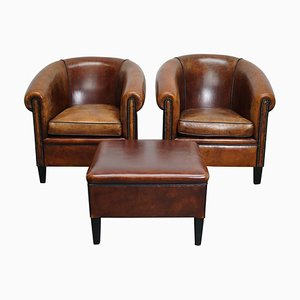 Vintage Dutch Cognac Leather Club Chairs & Ottoman, Set of 3