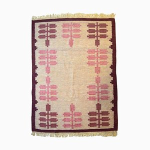 Mid-20th Century Swedish Handwoven Röllakan Rug with Geometric Fields