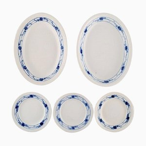 Early 20th Century Royal Copenhagen Rosebud / Blue Rose Service, Set of 5