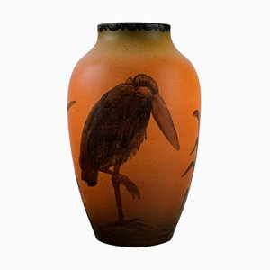 Ipsen's Vase with Marabou in Hand Painted Glazed Ceramics, 1920