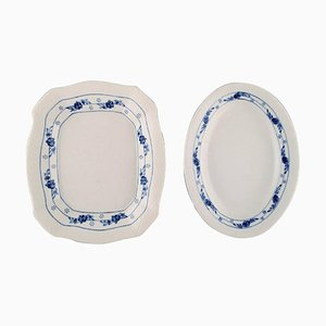 Early 20th Century Royal Copenhagen Rosebud / Blue Rose Service Serving Dishes, Set of 2