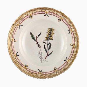 20th Century Royal Copenhagen Flora Danica Deep Plate in Porcelain with Hand Painted Flowers