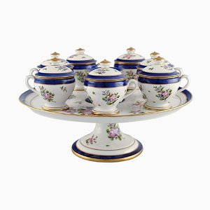 Antique Cream Cups on Compote in Hand Painted Porcelain from Nationale de Sèvres, Set of 8