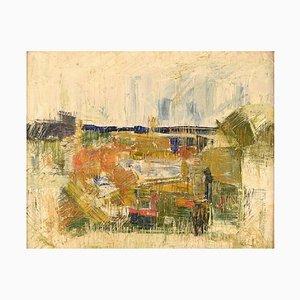 Stig Andersson, Paysage Moderniste, 1960s, Huile sur Toile