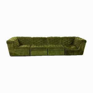 Vintage Green Velvet Elemental Sofa, Set of 4