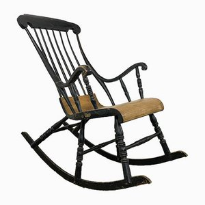 Swedish Antique Black Painted Rocking Chair