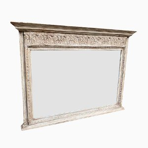 Antique English Carved Wood and Gesso Painted Overmantle Mirror