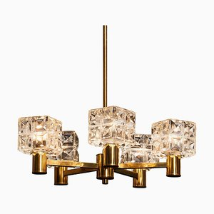 Brass and Crystal Chandelier from Konsthantverk Tyringe, 1950s
