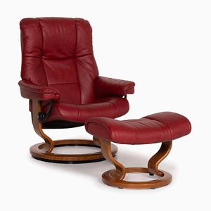 Mayfair Leather Armchair with Stool Relaxation Function from Stressless