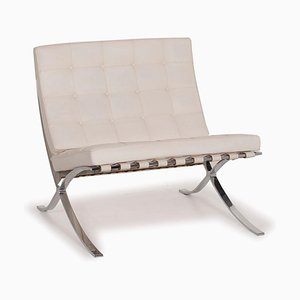 White Leather Barcelona Chair by Ludwig Mies van der Rohe for Knoll International, 1930s