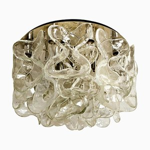 Catena Murano Glass Chrome Flushmount Chandelier by J.T. Kalmar, 1960s