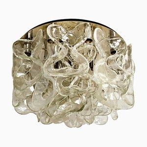 Catena Murano Glass Chrome Flushmount Chandelier by J.T. Kalmar, 1960s