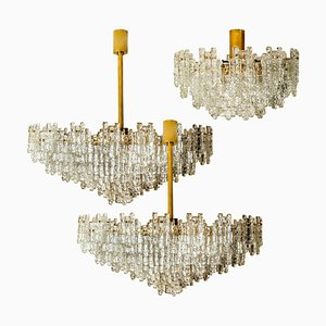 Brass and Glass Flush Chandeliers by J.T. Kalmar, 1960s, Set of 3