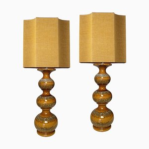 Ceramic Table Lamps with New Silk Custom Made Lampshades René Houben, 1960s, Set of 2