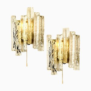 Ice Glass Wall Sconces, Austria, 1970s, Set of 2
