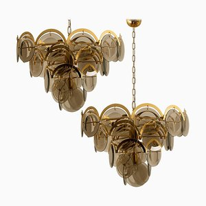 Large Smoked Glass and Brass Chandeliers in the Style of Vistosi, Italy, 1970s, Set of 2