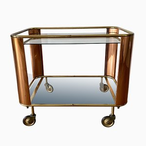 Art Deco Golden Bar Cart In Brass and Copper, 1930s