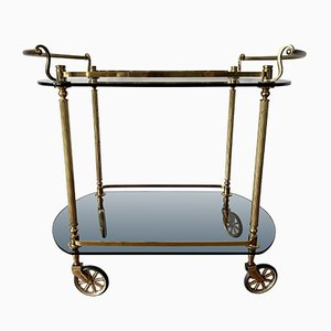 Golden Brass Bar Cart with Two Dark Tinted Glass Trays