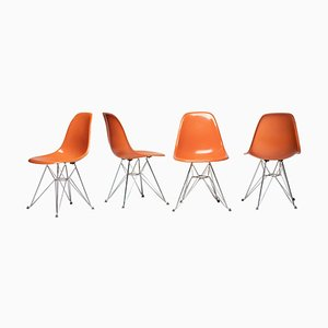 Orange DSR Chairs by Charles & Ray Eames for Herman Miller, 1978, Set of 4