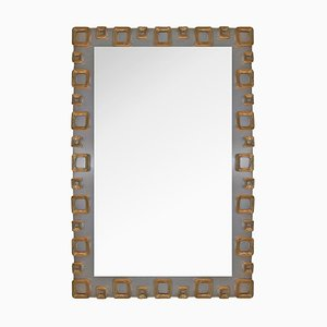 Vintage Cast Brass and Steel Frame Mirror by Sandro Petti, 1980s