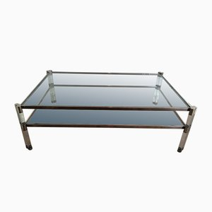 Large Lucite and Chrome Coffee Table with 2 Glass Shelves, 1970s